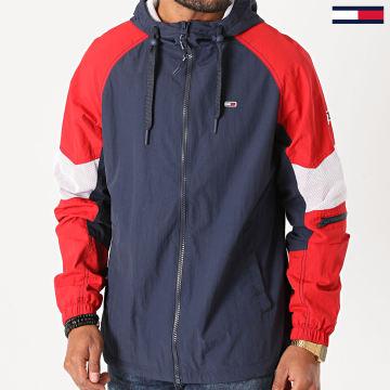 Tommy Jeans - Veste Zippée Capuche Mix Fabric 8426 Bleu Marine Rouge