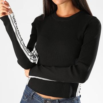Calvin Klein - Pull Femme A Bandes Stripe Logo 4138 Noir