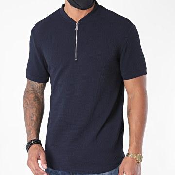 Uniplay - Tee Shirt Oversize Col Zippé UY509 Bleu Marine