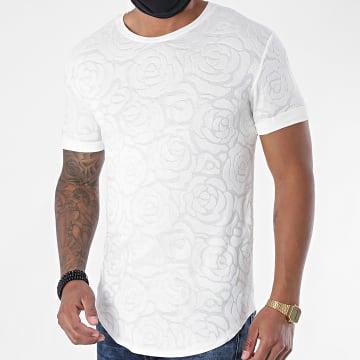 Uniplay - Tee Shirt Oversize Floral UY499 Blanc Cassé