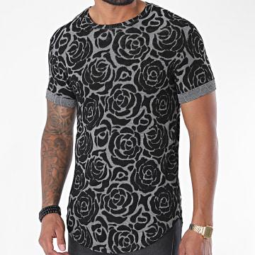 Uniplay - Tee Shirt Oversize Floral UY499 Gris Noir