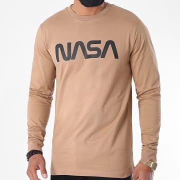 NASA - Tee Shirt Manches Longues Worm Logo 2 Camel