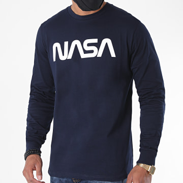 NASA - Tee Shirt Manches Longues Worm Logo 2 Navy