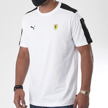 Puma - Tee Shirt A Bandes Scuderia Ferrari Race T7 597946 Blanc