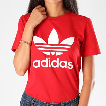Adidas Originals - Tee Shirt Femme Trefoil GI7061 Rouge