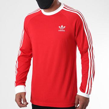 Adidas Originals - Tee Shirt Manches Longues A Bandes ED5962 Rouge