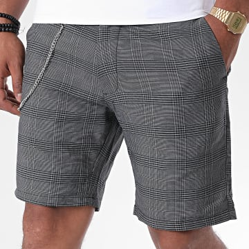 Brave Soul - Short Chino A Carreaux Leroy Gris Anthracite