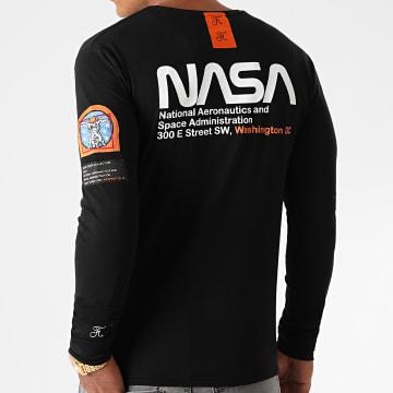Final Club - Tee Shirt Manches Longues Space Exploration Avec Patch Et Broderie 463 Noir