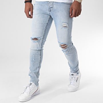 KZR - Jean Slim Destroy DM008 Bleu Wash