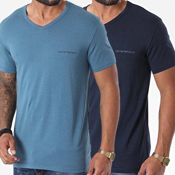 Emporio Armani - Lot De 2 Tee Shirts Col V 111849-0A717 Bleu Marine Bleu Clair