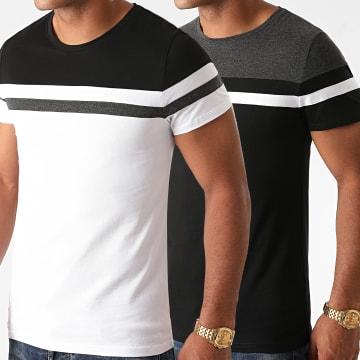 LBO - Lot de 2 Tee Shirts Tricolore 1241 Gris Anthracite Blanc Noir