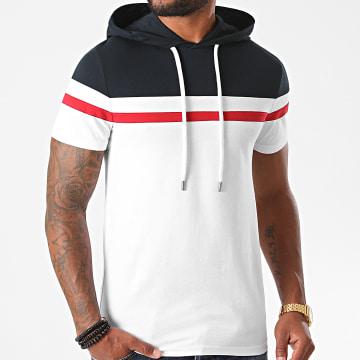 LBO - Tee Shirt Capuche Tricolore 1261 Blanc Bleu Marine Rouge
