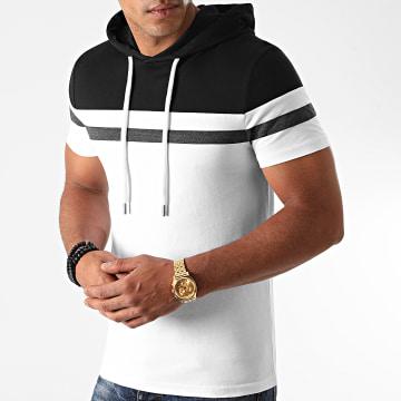 LBO - Tee Shirt Capuche Tricolore 1262 Noir Gris Anthracite Blanc