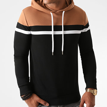 LBO - Sweat Capuche Slim Fit Tricolore 1273 Camel Blanc Noir