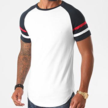 LBO - Tee Shirt Oversize Raglan Avec Bandes 1228 Bleu Marine Blanc