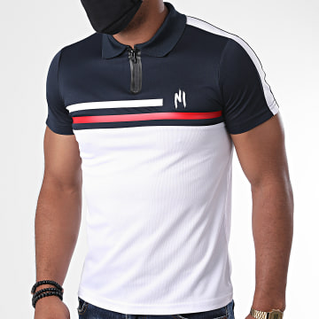 NI by Ninho - Polo Manches Courtes Tricolore A Bandes Shaft Blanc Bleu Marine