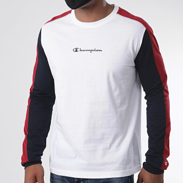 Champion - Tee Shirt Manches Longues A Bandes Tricolore 214819 Blanc Bordeaux Bleu Marine