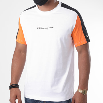 Champion - Tee Shirt A Bandes 214820 Blanc Noir Orange