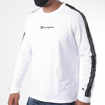 Champion - Tee Shirt Manches Longues A Bandes 215316 Blanc