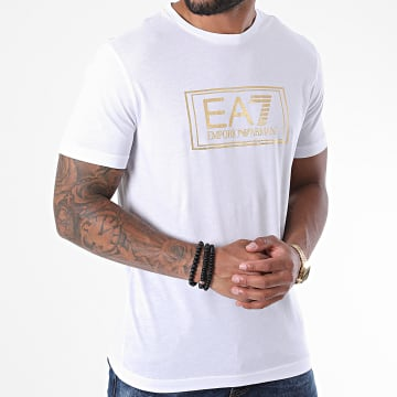 EA7 - Tee Shirt 6HPT51-PJM9Z Blanc Doré