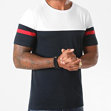 LBO - Tee Shirt Bicolore A Bandes 1267 Blan Bleu Marine