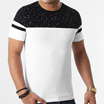 LBO - Tee Shirt Bicolore A Bandes 1268 Speckle Blanc