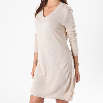 Only - Robe Pull Femme Manches Longues Zoe Beige