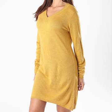 Only - Robe Pull Femme Manches Longues Zoe Jaune Moutarde