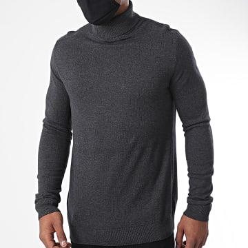 Selected - Sweat Col Roulé Berg Gris Anthracite Chiné