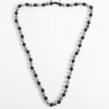 Black Needle - Collier BBC-277 Noir Blanc Marbre