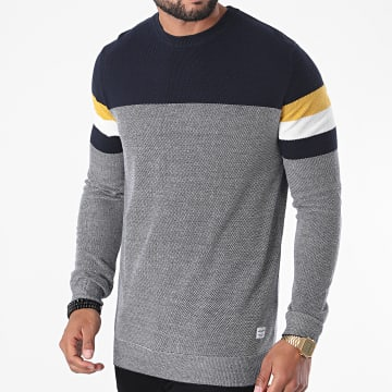 Jack And Jones - Pull Tucker Knit Bleu Marine Blanc Moutarde