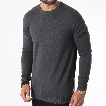 Jack And Jones - Pull Basic Knit Gris Anthracite Chiné