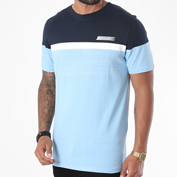 Jack And Jones - Tee Shirt Aiden Bleu Ciel Bleu Marine