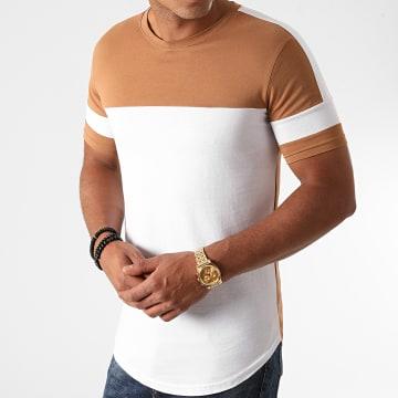 LBO - Tee Shirt Oversize A Bandes 1212 Camel Blanc