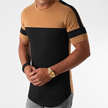 LBO - Tee Shirt Oversize A Bandes 1213 Camel Noir