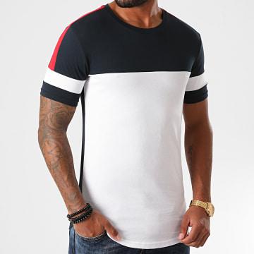 LBO - Tee Shirt Oversize A Bandes 1214 Bleu Marine Rouge Blanc