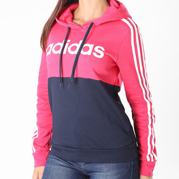 adidas - Sweat Capuche A Bandes Femme GL6303 Rose Fuschia Bleu Marine