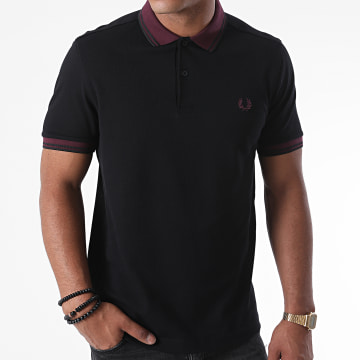 Fred Perry - Polo Manches Courtes Contrast Rib M4567 Noir Bordeaux
