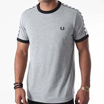 Fred Perry - Tee Shirt A Bandes Taped Ringer M6347 Gris Chiné