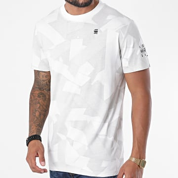 G-Star - Tee Shirt Tape Camo All Over Print D17659-C334 Blanc Gris