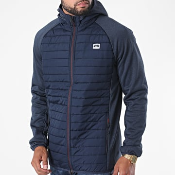 Jack And Jones - Veste Zippée Capuche Multi Quilted Bleu Marine