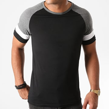 LBO - Tee Shirt Manches Raglan Tricolore 1229 Gris Anthracite Blanc Noir