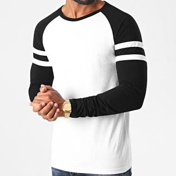 LBO - Tee Shirt Manches Longues Raglan Avec Bandes 1222 Blanc