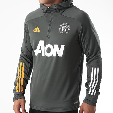 Adidas Performance - Sweat Col Zippé Capuche Manchester United FC TK GD3704 Vert Kaki