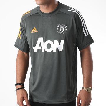 Adidas Performance - Tee Shirt De Sport A Bandes Manchester United FC FR3655 Vert Kaki