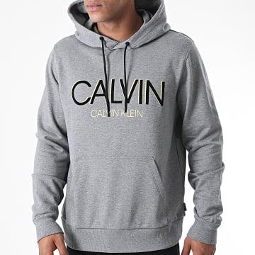Calvin Klein - Sweat Capuche Calvin Shadow Logo 5584 Gris Chiné