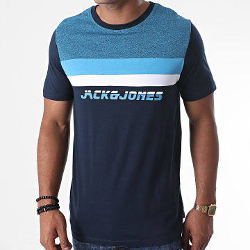 Jack And Jones - Tee Shirt Panel Bleu Clair Bleu Marine