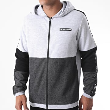 Jack And Jones - Sweat Zippé Capuche A Bandes Ally Gris Clair Chiné Gris Anthracite Chiné