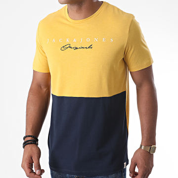 Jack And Jones - Tee Shirt Station Jaune Moutarde Bleu Marine