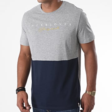 Jack And Jones - Tee Shirt Station Gris Chiné Bleu Marine
